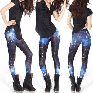 NWOT Blackmilk Galaxy Leggings, Blue, Size M